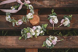 Ozdoby do vlasov - Romantický svadobný set Eukalyptus a ruže- výroba na mieru - 12391379_