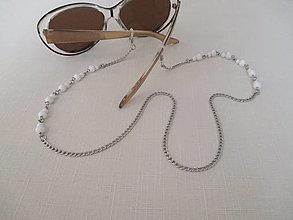 Iné šperky - Retiazka na okuliare - minerál jaspis biely - chirurgická oceľ - 12388713_