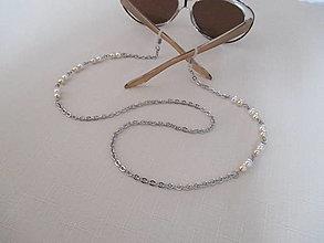 Iné šperky - Retiazka na okuliare - béžovo/biela - chirurgická oceľ - 12388761_