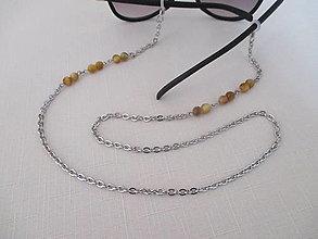Iné šperky - Retiazka na okuliare - minerál tigrie oko - chirurgická oceľ - 12388808_