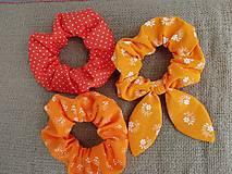 Ozdoby do vlasov - Scrunchie gumičky oranžové - 12390931_