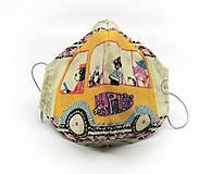 Rúška - Anatomické antibakteriálne rúško s časticami striebra - Školský autobus č.1 (2-vrstvové - Detské (7-11 rokov)) - 12389738_