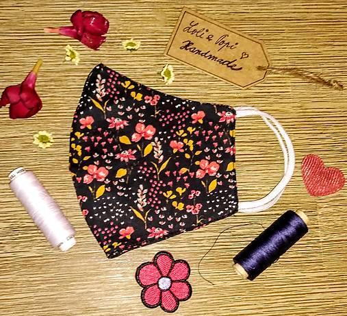 BIO Dizajnové rúško GOTS Flowers cuttie black