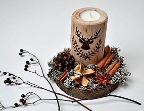 Svietidlá a sviečky - Zimný svietnik-Natur - 12389433_