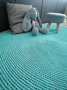 Úžitkový textil - Okrúhlý háčkovaný koberec MINT - 12389515_