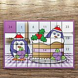 Papiernictvo - Adventný kalendár tučniaci v kuchyni (čučoriedková torta) - 12388388_