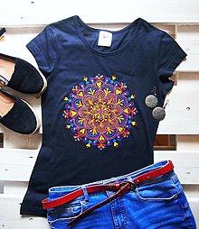 Tričká - Tričko tmavomodré s jesennou mandalou - XS - 12393470_