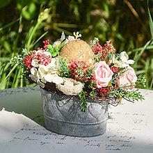 Dekorácie - Vintage ikebana so sviečkou - 12395846_