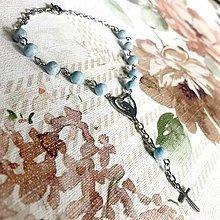 Náramky - Rosary Stainless Steel Larimar Bracelet / Ruženec na ruku alebo do auta s larimarom (chirurgická oceľ) - 12397988_
