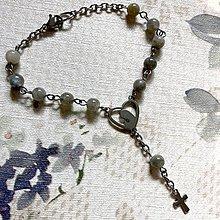Náramky - Rosary Stainless Steel Labradorite Bracelet / Ruženec na ruku alebo do auta s labradoritom (chirurgická oceľ) - 12398618_