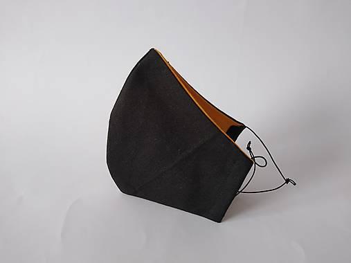 Dizajnové rúško čierne/horčicová tvarované dvojvrstvové