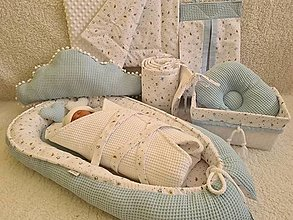 Textil - Hniezdo pre bábätko - bledo-modré vafle/ 100% bavlna - 12398566_