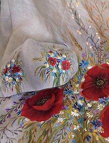"""Rúška - Ručne maľované ľanové rúška """" Byliny lúk a polí """" (lúčna kytica s klasom na prírodnom) - 12397939_"""