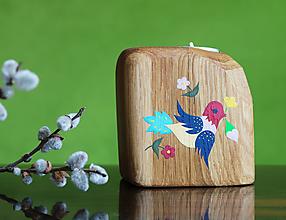 Svietidlá a sviečky - Ručne maľovaný dubový svietnik II - 12397539_