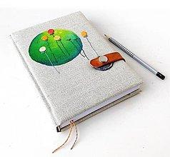 Papiernictvo - Vyšívaný zápisník Zelený kruh - A5 - 12396683_