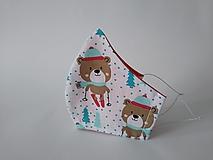 Rúška - Dizajnové rúško macko vianočné tvarované dvojvrstvové (Dámske) - 12402290_