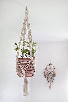 """Dekorácie - makramé záves na kvetináč """"pure"""" natural biely (variant 3) - 12402545_"""