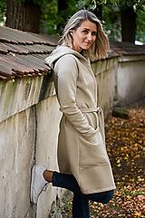 Kabáty - Šedo-béžový kardigan na zavazování - 12402872_