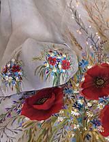 """Šaty - Ľanové maľované šaty """"Lúčna kytica II."""" (Ľanové maľované šaty """"Lúčna kytica s makmi III) - 12402295_"""
