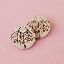 Náušnice - echinacea ~ napichovačky (natur bledé) - 12403384_