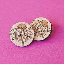 Náušnice - echinacea ~ napichovačky (natur tmavé) - 12403390_