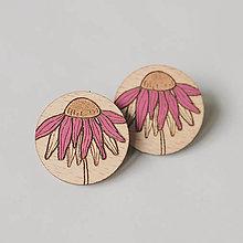 Náušnice - echinacea ~ napichovačky (farebné) - 12403395_