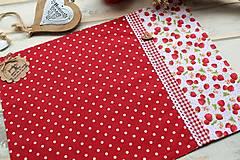 Úžitkový textil - Bodkované prestieranie-jahôdka - 12402167_
