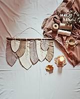 Dekorácie - Macramé Listy Dekorácia - hnedá - 12404281_