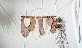 Dekorácie - Macramé Listy Dekorácia - hnedá - 12404294_