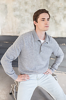 Svetre/Pulóvre - Sivý pánsky sveter - 100% kašmír - 12401957_