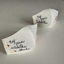 Rúška - Výnimočné maľované ľanové rúško (pre naj pani učiteľku (s menom)) - 12404244_