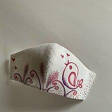Rúška - Maľované SMOTANOVOBIELE ľanové rúško (3-vrstvové) (folk doružova) - 12404310_