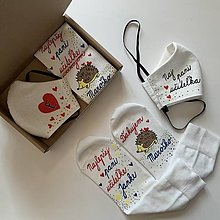 Rúška - Výnimočné maľované ľanové rúško (a ponožky pre naj pani učiteľku) - 12404959_