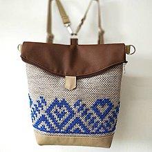 """Veľké tašky - Kabelka - batoh """"Modré krížiky"""" - 12402182_"""