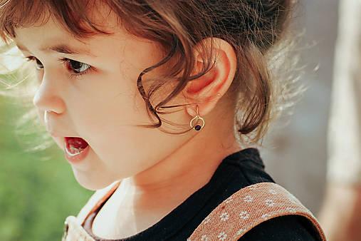Detské zlaté náušnice s ametystom - MALÁláska