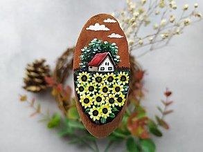 Magnetky - Malovana magnetka drevena - slnecnice - 12405783_