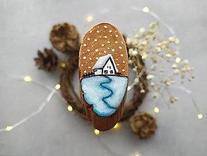 Magnetky - Malovana magnetka drevena - vianoce - 12408249_