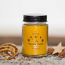 Svietidlá a sviečky - Sviečka zo 100% včelieho vosku v skle - Vianočný Puding - 12408433_