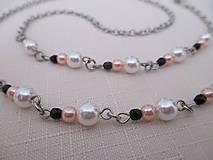 Iné šperky - Retiazka na okuliare - bielo/ružovo/čierna - chirurgická oceľ - 12408060_