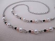 Iné šperky - Retiazka na okuliare - bielo/ružovo/čierna - chirurgická oceľ - 12408061_