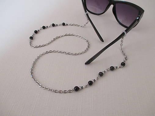 Retiazka na okuliare - čierno/strieborná - chirurgická oceľ