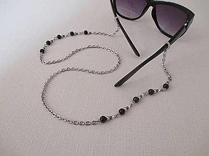 Iné šperky - Retiazka na okuliare - čierno/strieborná - chirurgická oceľ - 12407580_