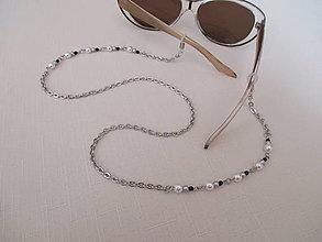Iné šperky - Retiazka na okuliare - bielo/strieborno/čierna - chirurgická oceľ - 12408001_