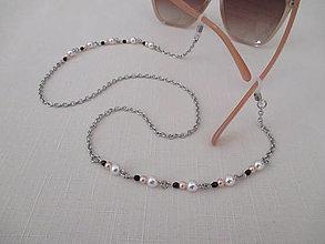 Iné šperky - Retiazka na okuliare - bielo/ružovo/čierna - chirurgická oceľ - 12408047_