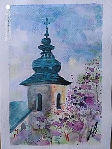 Obrazy - kostol. veža, Brdárka, akv. - 12408023_