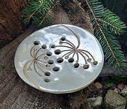 Nádoby - Mydelnička perleťové, okrúhla - 12406879_