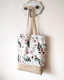 Nákupné tašky - taška natur ruže - 12406123_