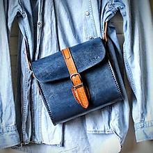 Kabelky - Kožená kabelka Old-denim blue messenger - 12408563_