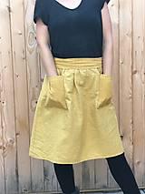 Sukne - Veselá - celoročná ľanová mini sukňa - 12406354_
