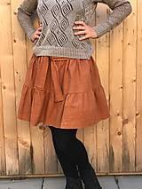 Sukne - Veselá - celoročná ľanová mini sukňa - 12406355_